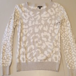 Express Gray and white leopard print sweater XS
